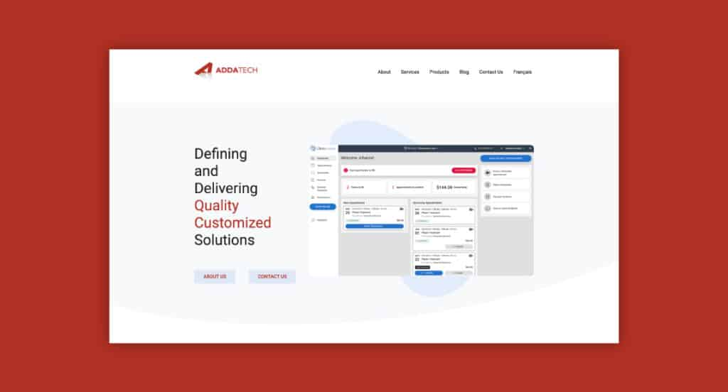 One of 2point0media's clients, AddaTech Systems website.