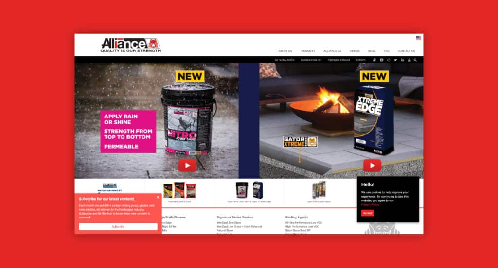One of 2point0media's clients, Alliance Designer Products website.