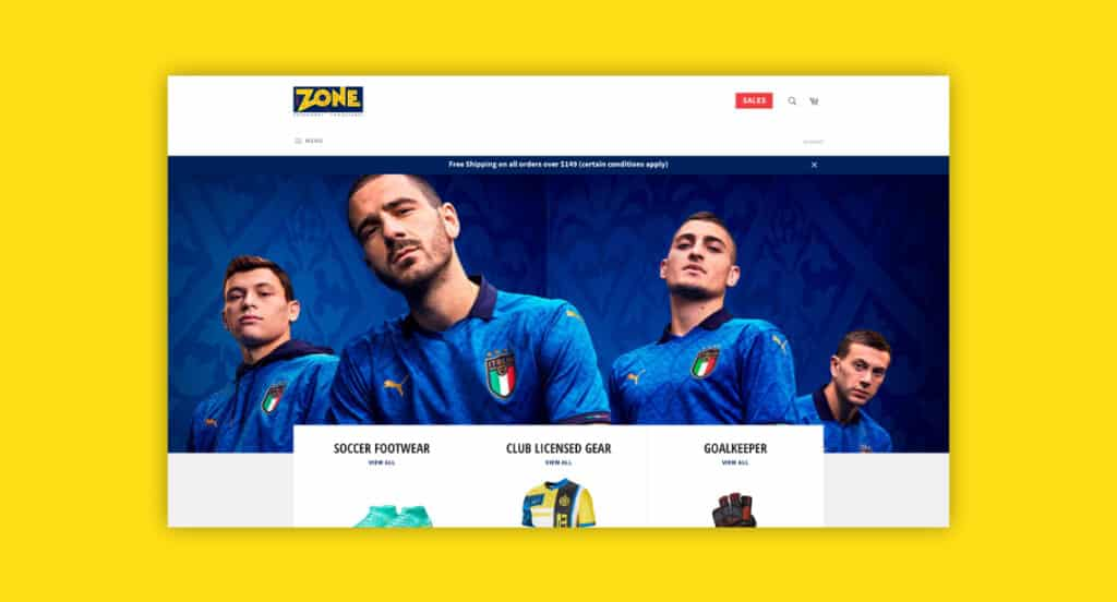 One of 2point0media's clients, Footzone website.