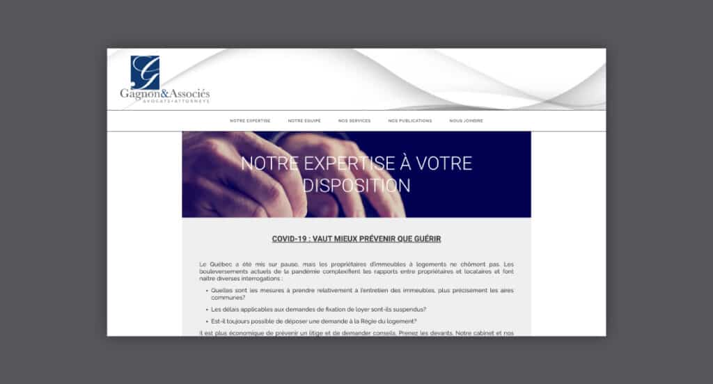 One of 2point0media's clients, Gagnon et Associés website.