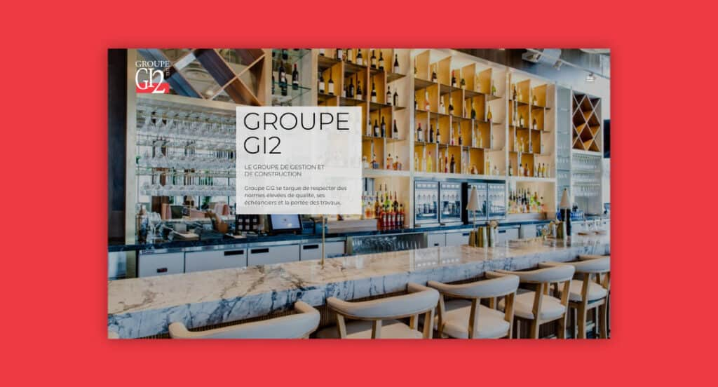 One of 2point0media's clients, Groupe GI2 website.