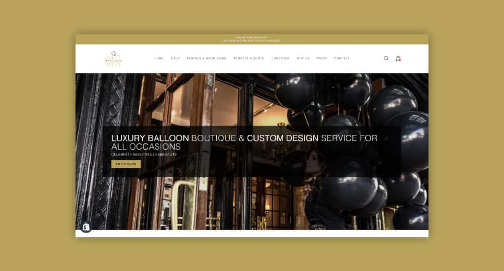 One of 2point0media's clients, Haute Balloon website.