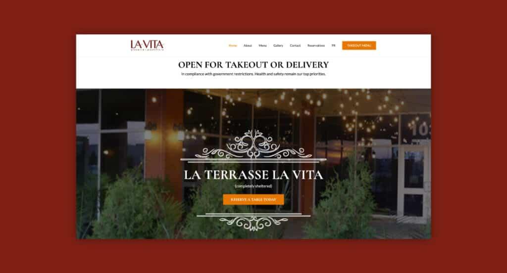 One of 2point0media's clients, Restaurant La Vita website.