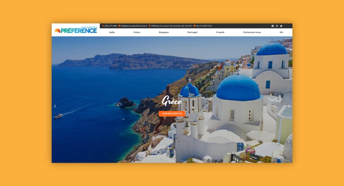 Un des clients de 2point0media, site de Vacances Préférences.