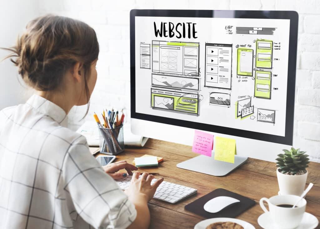 A developer working on a website's design.